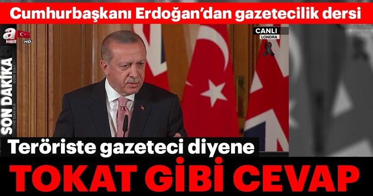 Cumhurbaşkanı Erdoğan'dan İngiltere'de gazetecilik dersi