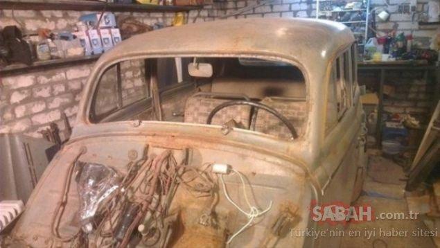 Yarım asır sonra gün ışığına çıktı! Çürümüş eski arabanın son hali dudak uçuklattı