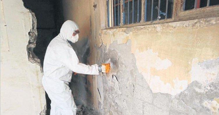 Yıkılacak binalarda asbest kontrolü yapılıyor