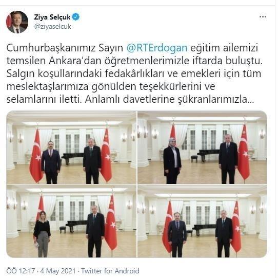 Başkan Erdoğan öğretmenlerle iftar yaptı
