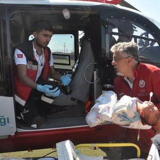 Hava ambulansı 1 aylık Elfin Ilgın bebek için havalandı