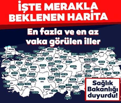 Son dakika: Sağlık Bakanı Fahrettin Koca, illere göre haftalık vaka sayısı haritasını paylaştı! 3 büyükşehirde son durum