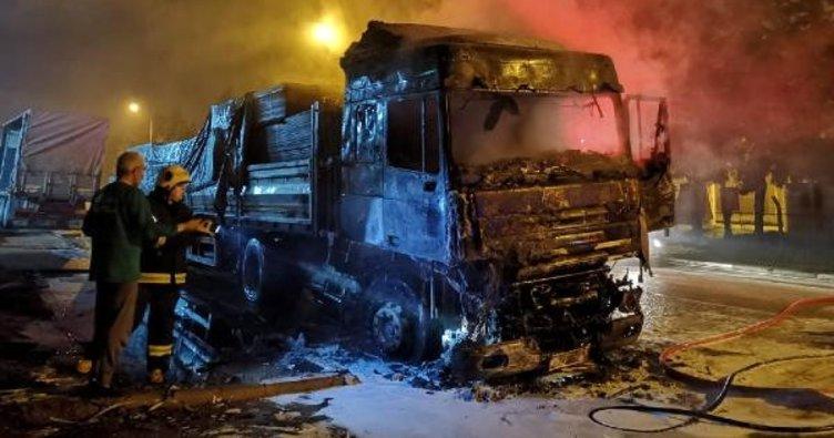 Park halindeki TIR yandı, uyuyan sürücü son anda kurtuldu