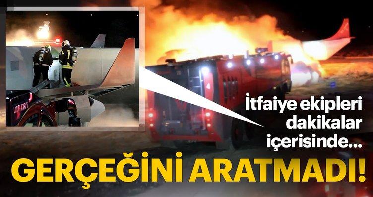 Nefes kesen uçak yangını tatbikatından fotoğraflar
