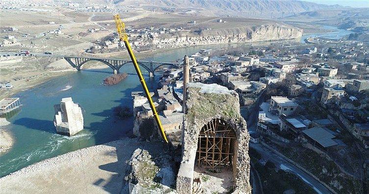 Hasankeyf'te 900 yıllık Küçük Saray böyle örtülendi