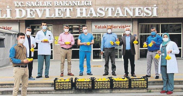 Erdemli Ziraat Odası sağlık çalışanlarına limon dağıttı