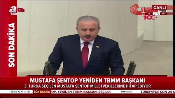 Son dakika! Yeniden TBMM Başkanı seçilen Mustafa Şentop, Meclis'te konuştu | Video