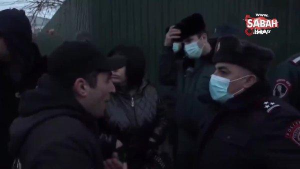 Ermeni muhalifler Paşinyan'ın, Moskova'ya gidişini engellemeye çalıştı   Video