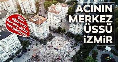 İzmir'de enkaza dönen binalar havadan görüntülendi.. İşte depremin merkez üssü İzmir'den son fotoğraflar
