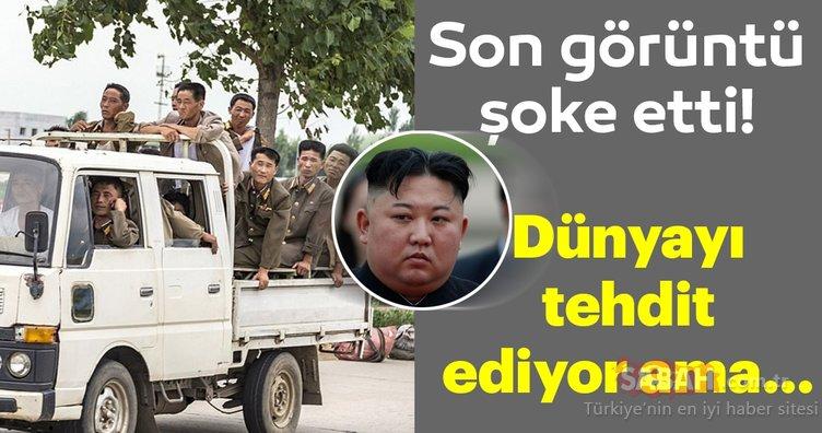 Kuzey Kore'de tüm dünyayı şoke eden kare! Herkesi tehdit ediyor ama...