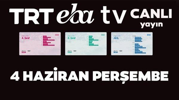 TRT EBA TV izle! (4 Haziran 2020 Perşembe) 'Uzaktan Eğitim' Ortaokul, İlkokul, Lise kanalları canlı yayın | Video