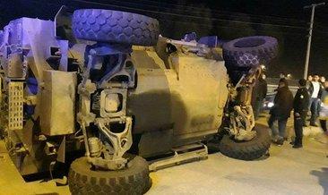 Kaza yapan panzer yan yattı: 3 yaralı