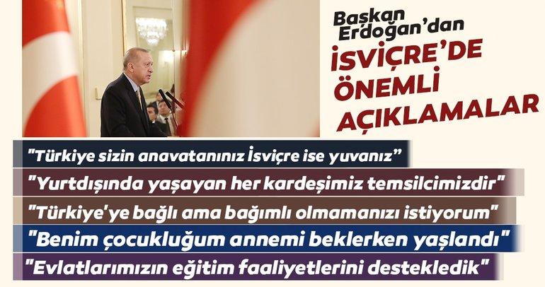 Başkan Erdoğan Cenevre'de konuştu: Tarih boyunca olduğu gibi bugün de Avrupa'da ev sahibiyiz