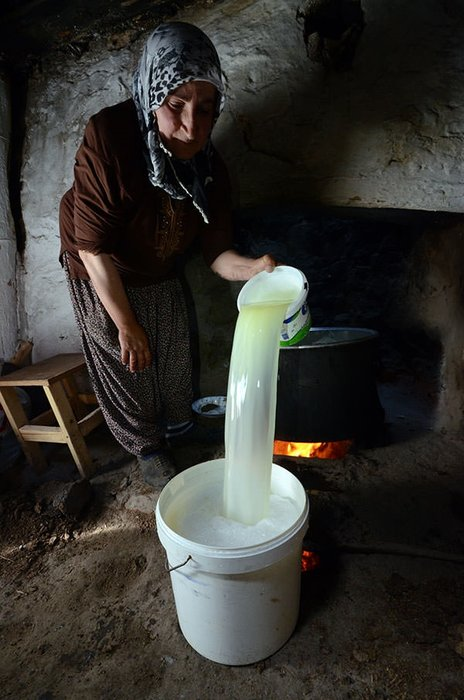 Kazanlar çeçil peyniri için kaynıyor
