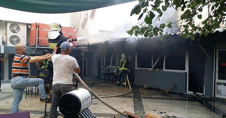 Salihli'de iş yerinde yangın paniği