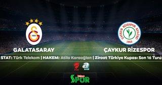 Galatasaray'ın Çaykur Rizespor maçı ilk 11'i belli oldu
