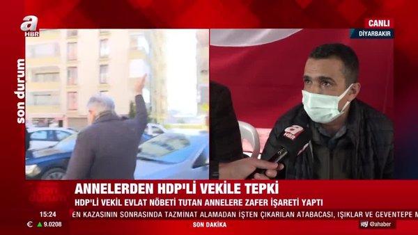 Diyarbakır'da 'Evlat Nöbeti'ndeki ailelerden kendilerine zafer işareti yapan HDP'li vekile tepki | Video