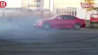 'Drift' yapmak isteyen sürücü lüks aracını yaktı!