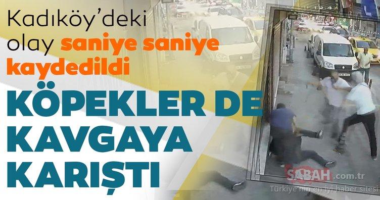 Kadıköy'de taksicilerle köpekli gencin tekmeli yumruklu kavgası kamerada
