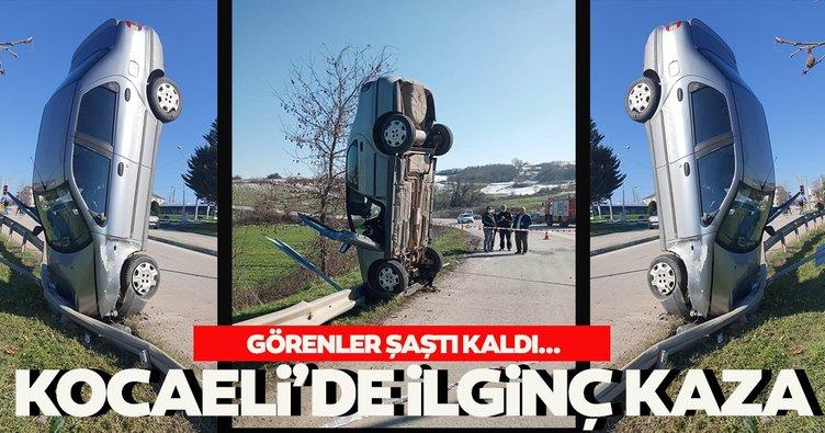 Son dakika: Kocaeli'de ilginç kaza! Dik şekilde kaldı!