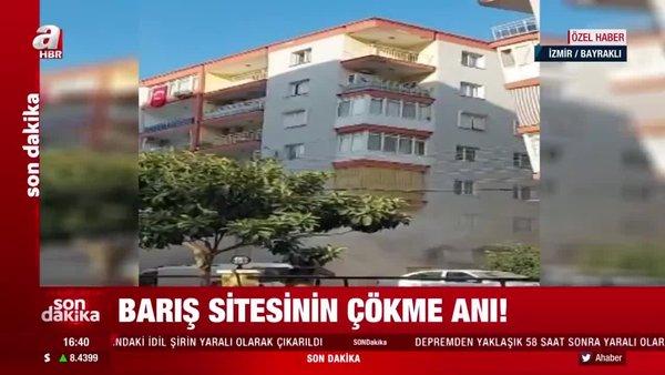 Son dakika deprem görüntüleri! İzmir'de Barış Sitesinin çökme anı kamerada!   Video