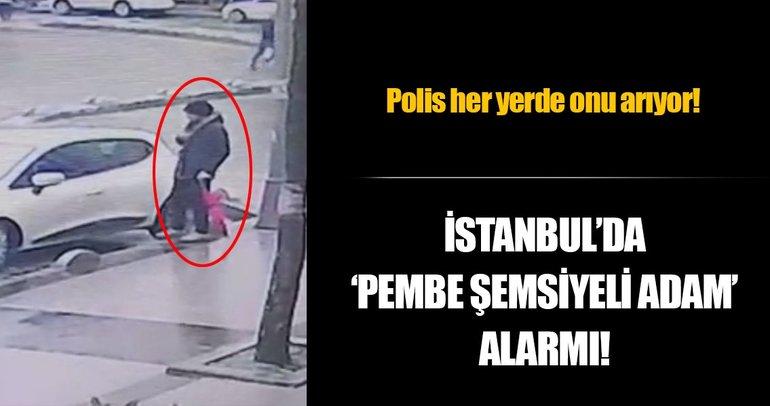 İstanbul'da pembe şemsiyeli hırsız kamerada