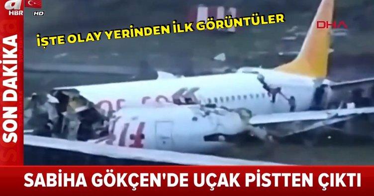 SON DAKİKA: Sabiha Gökçen`de Pegasus`a ait bir uçak pistten çıktı! İşte olay yerinden ilk görüntüler!