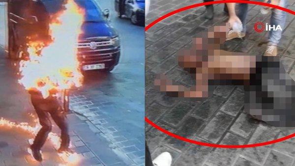 Son Dakika Haberi   Taksim'de tinerci dehşeti! Üzerine tiner döküp böyle ateşe verdi (+18)   Video