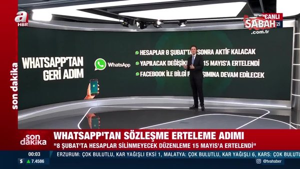 Son dakika: Whatsapp'tan gizlilik sözleşmesi açıklaması! 15 Mayıs'a ertelendi | Video