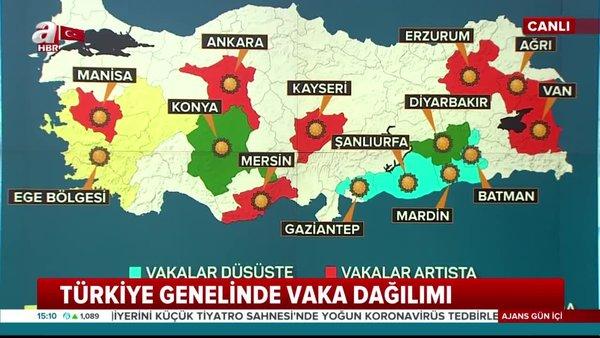 Türkiye genelinde koronavirüs vaka dağılımı haritası! İşte salgının etkili olduğu iller | Video
