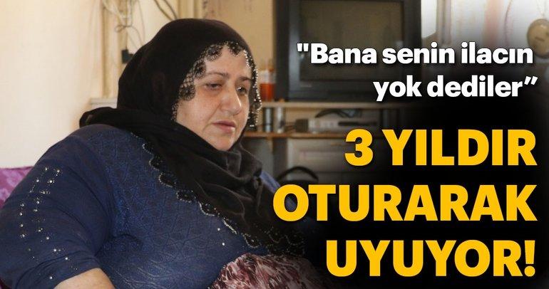 Fil hastalığına yakalanan kadın 3 yıldır oturarak uyuyor