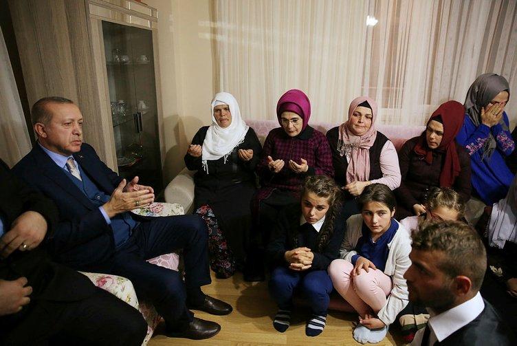 Cumhurbaşkanı Erdoğan Şehit Eren Bülbül'ün ailesini ziyaret etti