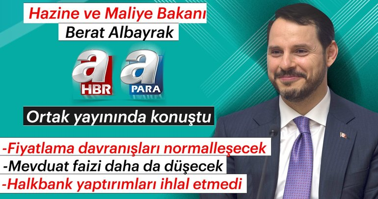 Son dakika: Bakan Albayrak'tan A Haber ve A Para ortak yayınında önemli açıklamalar