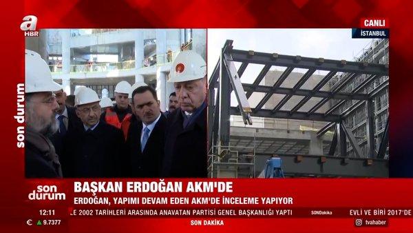 Son dakika! Cumhurbaşkanı Erdoğan, Atatürk Kültür Merkezi inşaatında incelemelerde bulundu | Video