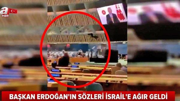 Cumhurbaşkanı Erdoğan'ın sözlerini hazmedemeyen İsrail temsilcisinden skandal hareket | Video