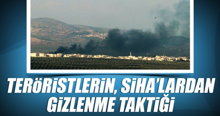 Teröristlerin SİHA'lardan gizlenme taktiği havadan görüntülendi