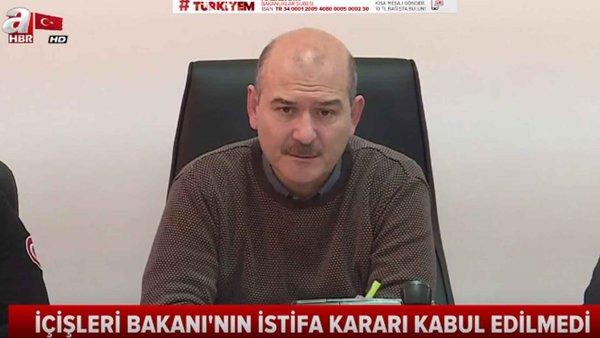 Süleyman Soylu'nun istifası Başkan Erdoğan tarafından kabul edilmedi