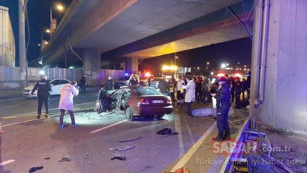 Trabzon'da otomobil viyadük ayağına çarptı; 2 ölü, 3 yaralı