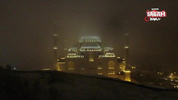 Çamlıca Camii'nde eşsiz kar manzaraları | Video