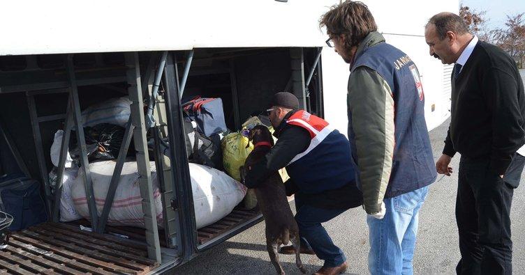 Yolcu otobüsünde 220 gram esrar ele geçirildi