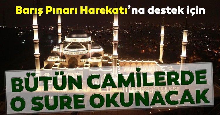 Barış Pınarı Harekatı'na destek için camilerde Fetih Suresi okunacak