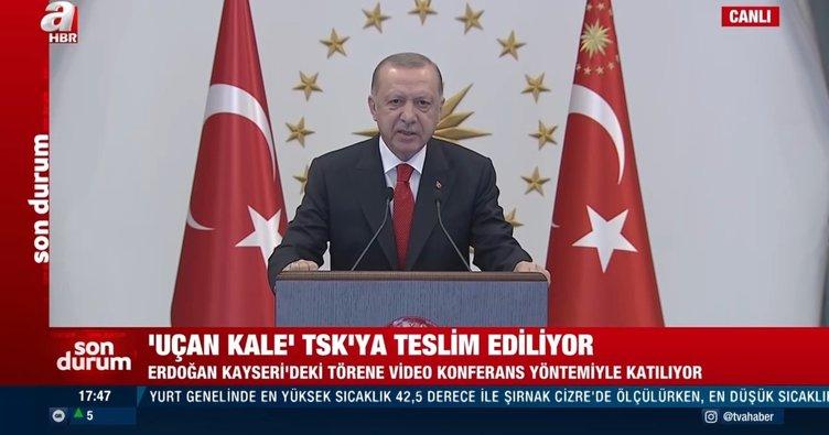 Son dakika: Başkan Erdoğan'dan 'Uçan Kale'nin TSK'ya teslim töreninde önemli açıklamalar: Sözde dostlarımız bizi zaafa düşürmeye çalıştı