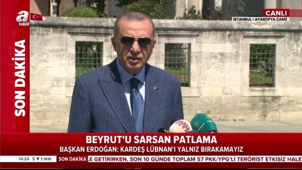 Son Dakika Haberi | Cumhurbaşkanı Erdoğan'dan Ayasofya Camii'de flaş Beyrut patlaması açıklaması | Video