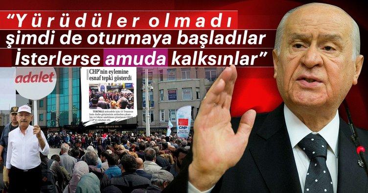 """Milliyetçi Hareket Partisi lideri Devlet Bahçeli: Yürüdüler olmadı şimdi de oturmaya başladılar. İsterlerse amuda kalksınlar"""""""