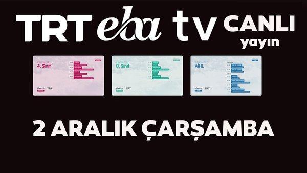 TRT EBA TV izle! (2 Aralık Çarşamba) Ortaokul, İlkokul, Lise dersleri 'Uzaktan Eğitim' canlı yayın: EBA TV ders programı | Video