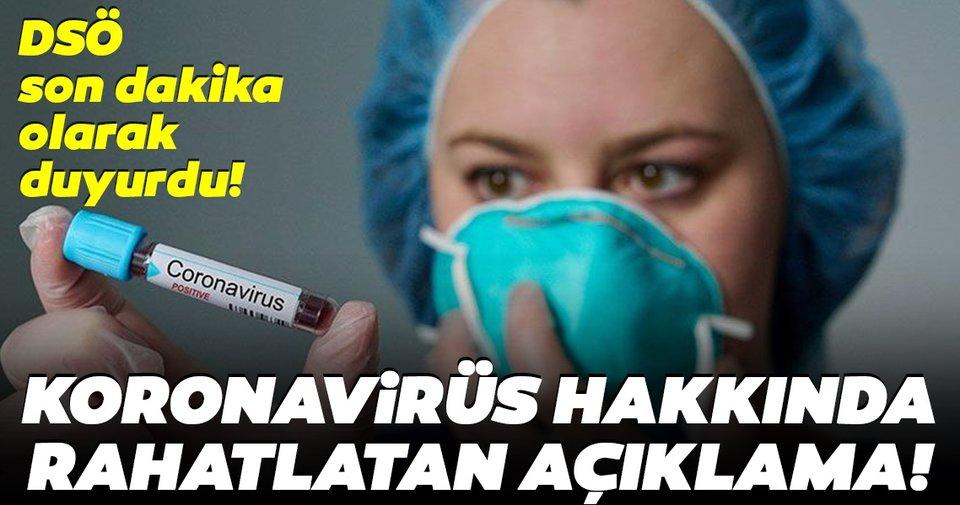 DSÖ'den son dakika coronavirüs açıklaması: Corona virüs hava yoluyla bulaşmıyor