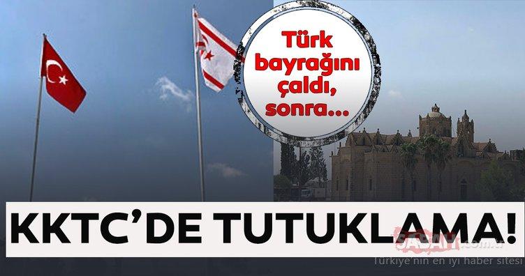 Son Dakika: KKTC'de Türk bayrağını çaldılar! Bayrağı çalan kişi için tutuklama emri verildi! İşte ayrıntılar