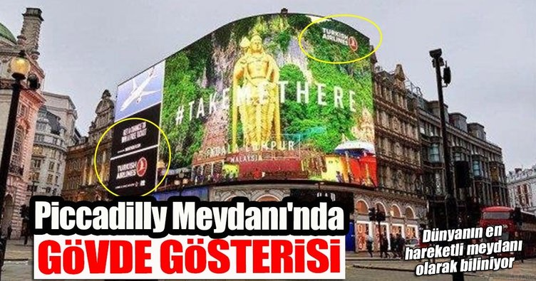 Piccadilly Meydanı'nında dev THY reklamı