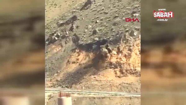 Yüksekova - Hakkari karayolunu trafiğe kapatan heyelanın görüntüleri ortaya çıktı! | Video