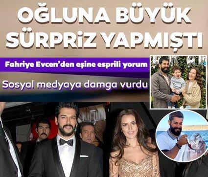 Fahriye Evcen'den oğluna balık getiren Burak Özçivit'e esprili cevap! Fahriye Evcen'in yazdığı yorum sosyal medyaya damga vurdu!